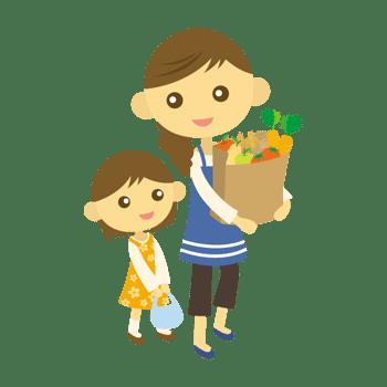 買い物をする親子のイラスト