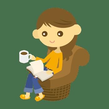 読書をする女性のイラスト