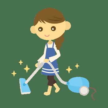 掃除機をかける女性のイラスト