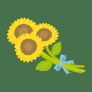 ヒマワリの花束のイラスト
