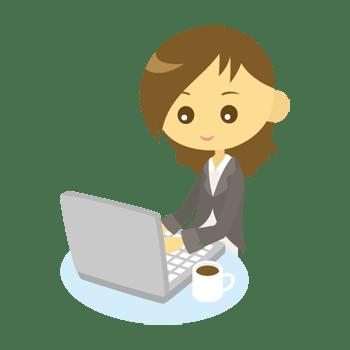 パソコンを使う女性会社員のイラスト