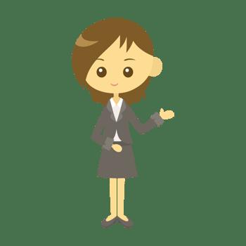 案内をする女性会社員のイラスト