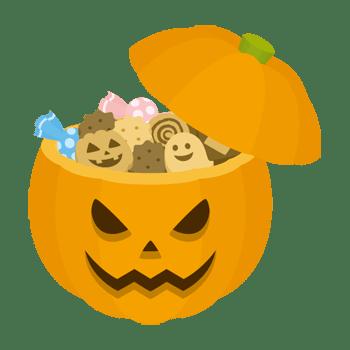 カボチャのお菓子ボックスのイラスト