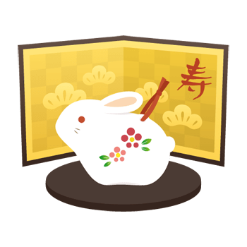 うさぎの土鈴のイラスト