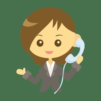 電話をかける女性会社員のイラスト