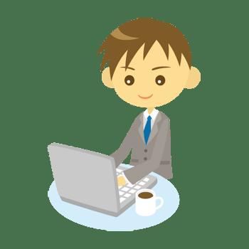 パソコンを使う男性会社員のイラスト