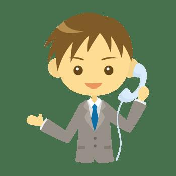 電話をかける男性会社員のイラスト