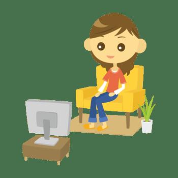テレビを見る女性のイラスト